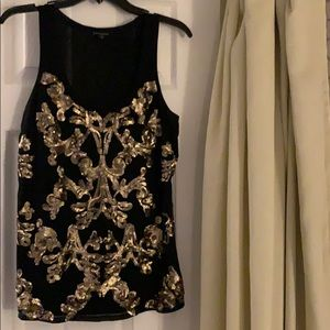 Black and gold sequined tank